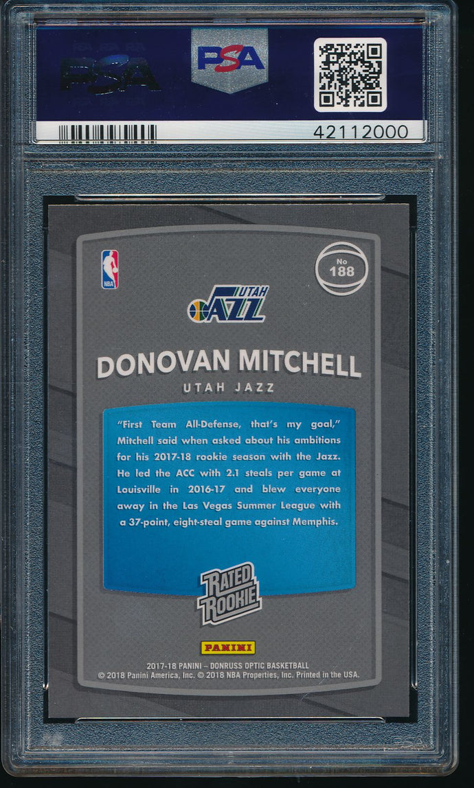 2017-18 Donruss Optic 188 Donovan Mitchell RC PSA 10 GEM MINT 14472