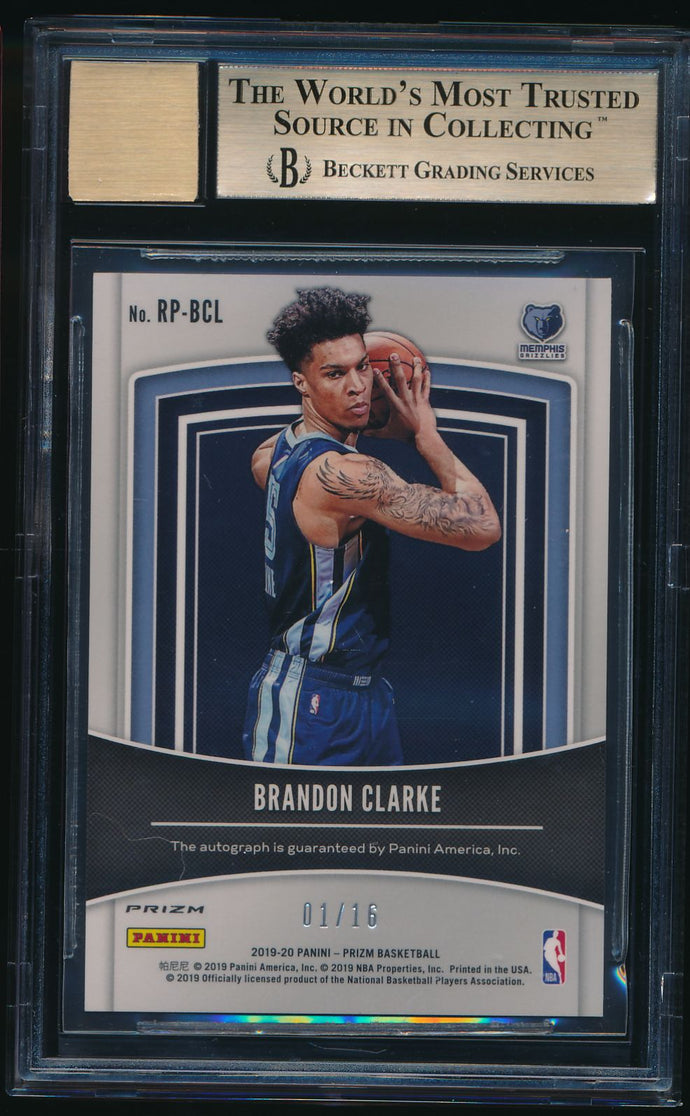 2019-20 Prizm Fanatics Green Ice Auto BRANDON CLARKE /16 RC BGS 9.5/10 GEM MINT