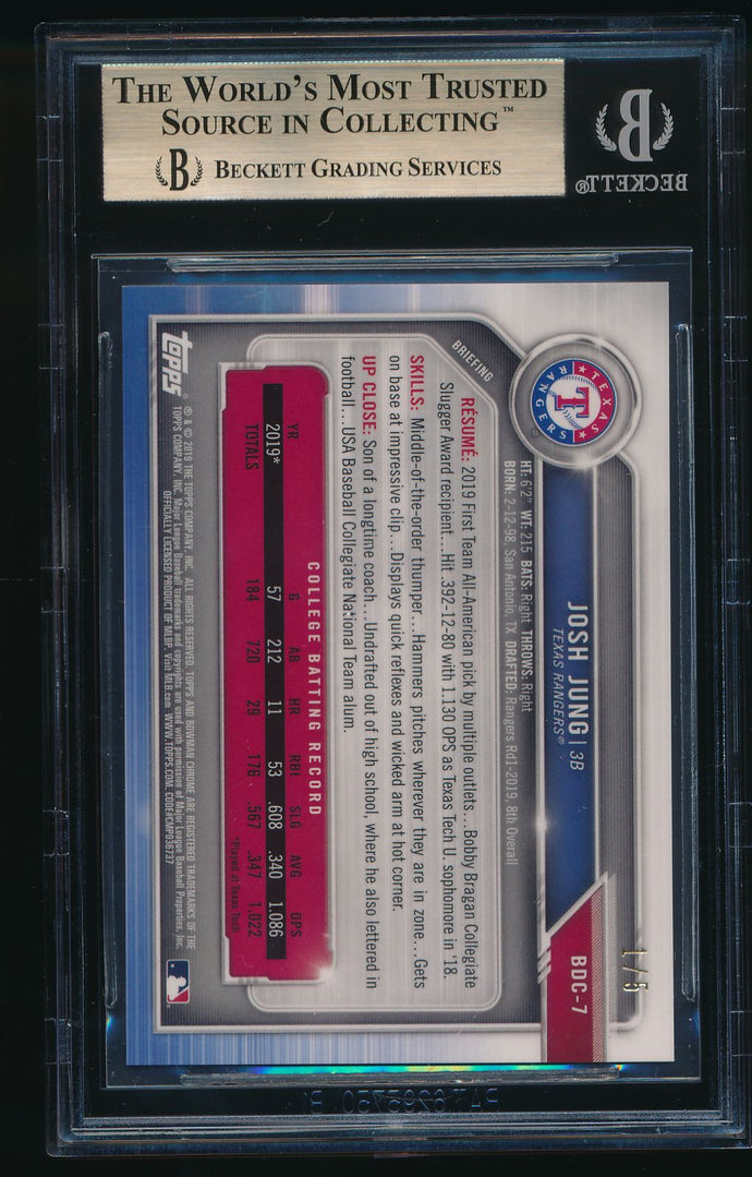 2019 Bowman Chrome Draft Sapphire Red JOSH JUNG /5 BGS 9.5 GEM MINT+ 10 sub