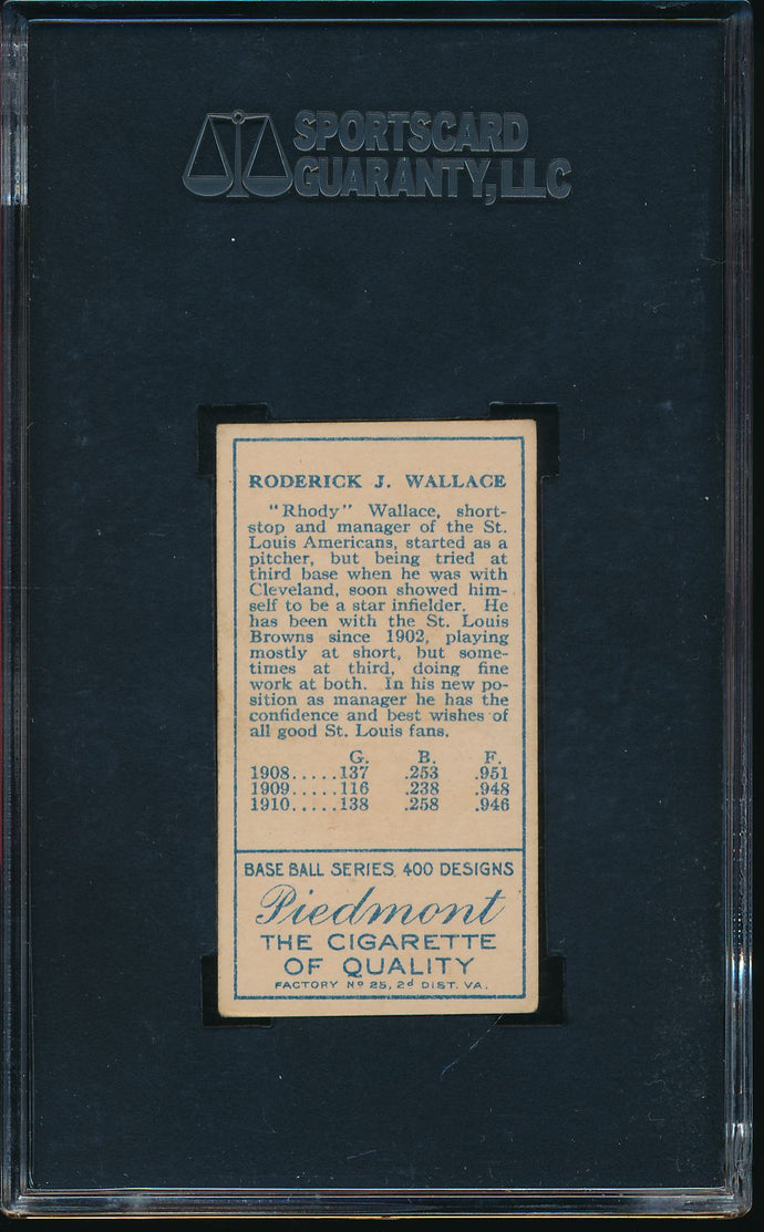 1911 t205 Piedmont  Bobby Wallace (With Cap) HOF SGC 4.5 VG-EX+ 14533