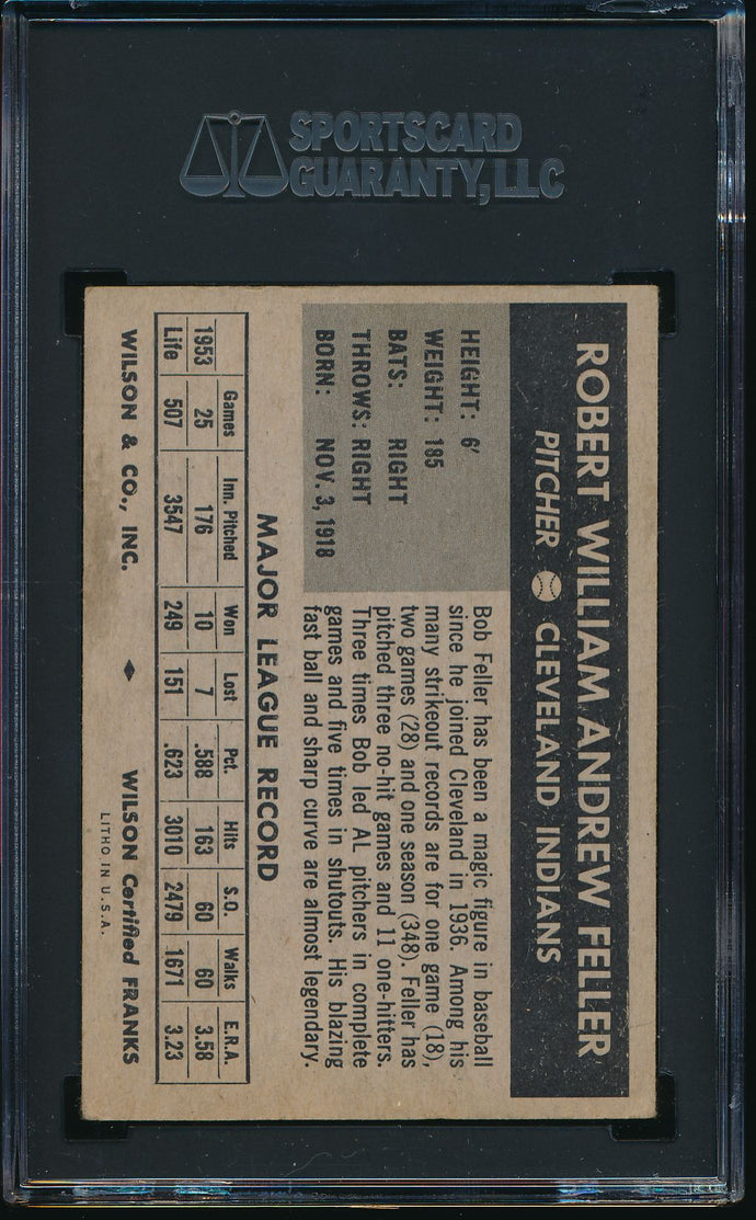1954 Wilson Franks   Bob Feller HOF SGC 2.5 GOOD+ 14537