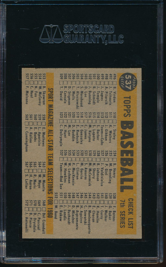 1960 Topps  537 Boston Red Sox Team Card High # SGC 7 NM 14543