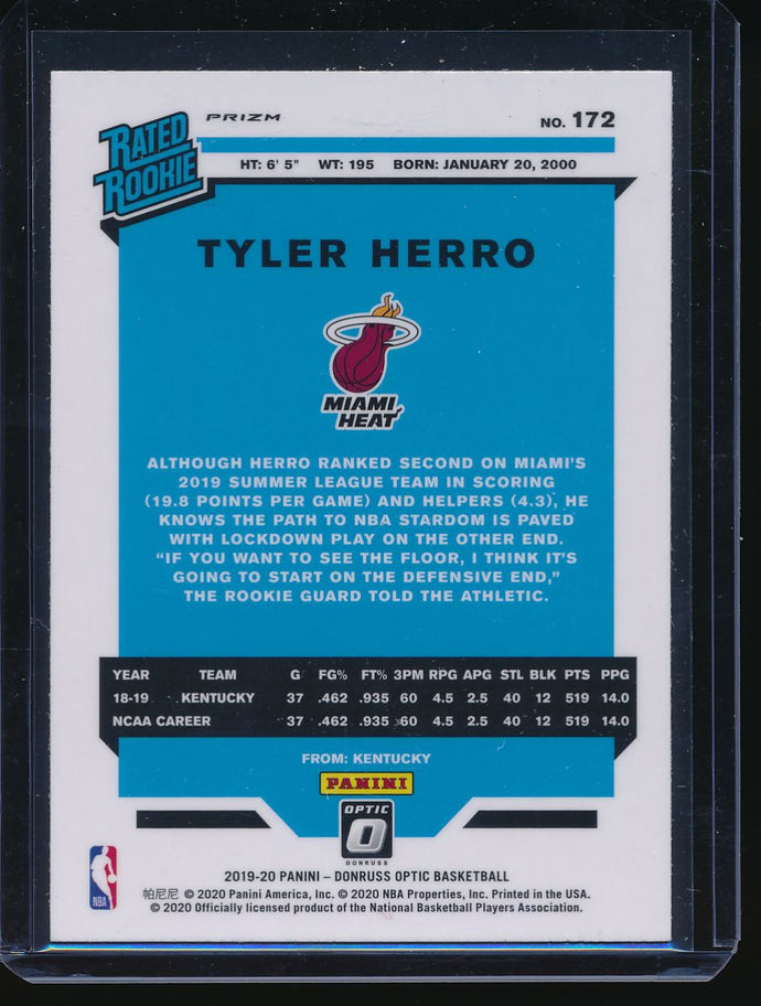 2019-20 Donruss Optic Blue Velocity 172 TYLER HERRO RC Pack-Fresh 14554