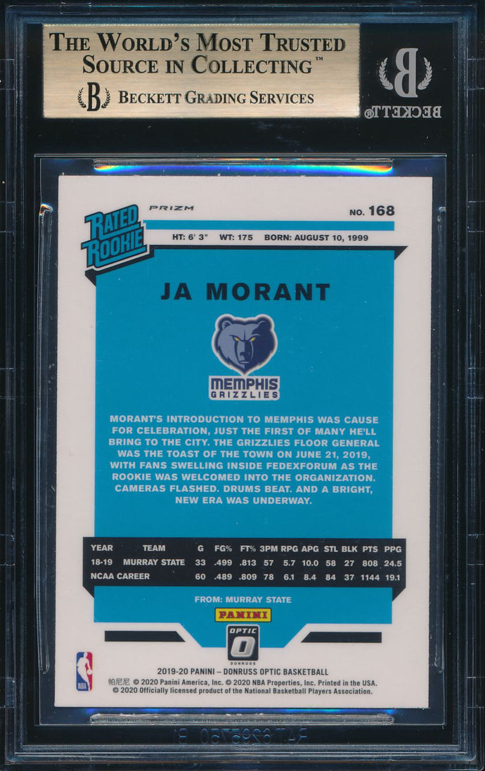 2019-20 Donruss Optic Fanatics Silver Wave Holo JA MORANT RC BGS 9.5 GEM MINT
