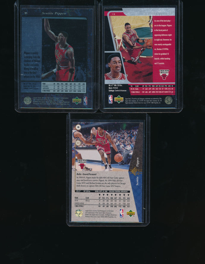 1995 1996 1997-98 Upper Deck SP  Scottie Pippen Lot x3  14643