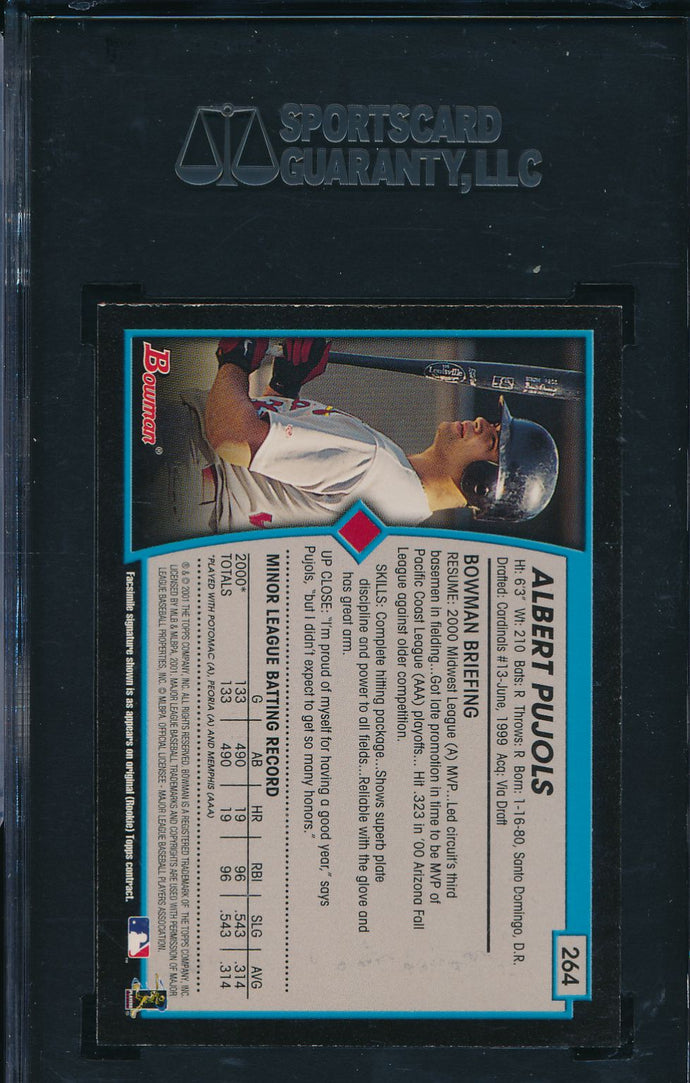 2001 Bowman  264 ALBERT PUJOLS RC Auto Bat SGC 96/9 MINT 14703