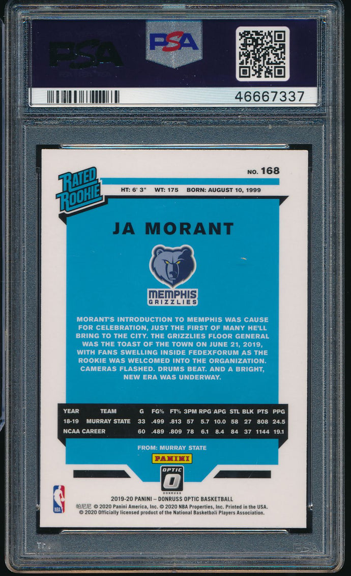 2019-20 Panini Donruss Optic 168 JA MORANT RC PSA 10 GEM MINT 14707