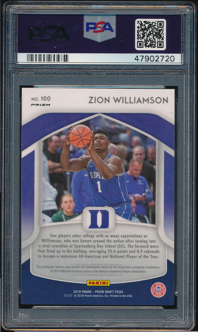 2019-20 Prizm Draft Pink Pulsar 100 ZION WILLIAMSON RC PSA 9 MINT 14802
