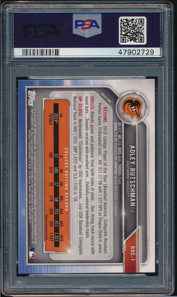 2019 Bowman Chrome Draft Sapphire ADLEY RUTSCHMAN XRC PSA 10 GEM MINT 14811