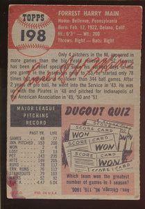 1953 Topps  198 Forest Woody Main  F 4550