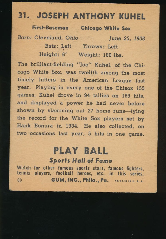 1941 Play Ball  31  Joe Kuhel  VG-EX 4627