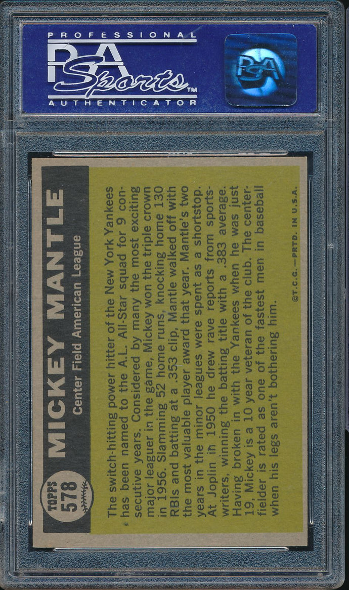 1961 Topps  578 MICKEY MANTLE All Star AS PSA 8 NM-MT DS_109