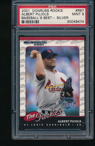Scan of 2001 Donruss Rookie R97 Albert Pujols PSA 9 MINT
