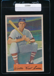 Scan of 1954 Bowman 18  Hoot Evers VG-EX