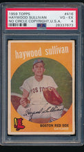 Load image into Gallery viewer, Scan of 1959 Topps 416 Haywood Sullivan PSA 4 VG-EX