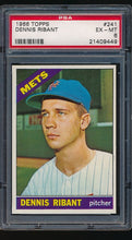Load image into Gallery viewer, Scan of 1966 Topps 241  Dennis Ribant PSA 6 EX-MT