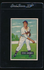 Scan of 1951 Bowman 115 Steve Gromek VG-EX