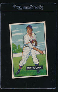 Scan of 1951 Bowman 115 Steve Gromek EX