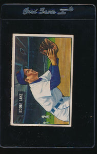Scan of 1951 Bowman 140 Eddie Lake G/VG