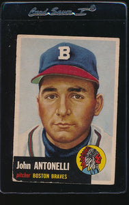 Scan of 1953 Topps 106 Johnny Antonelli VG