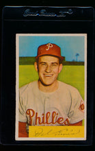 Load image into Gallery viewer, Scan of 1954 Bowman 127 Del Ennis VG