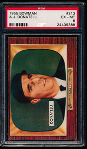 Scan of 1955 Bowman 313 A.J. Donatelli PSA 6 EX-MT