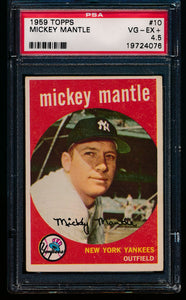 Scan of 1959 Topps 10 Mickey Mantle PSA 4.5 VG-EX+