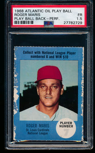 Scan of 1968 Atlantic Oil Play Ball  Roger Maris PSA 1.5 FR