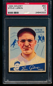 Scan of 1934 Goudey 92 Steve Larkin PSA 5 EX