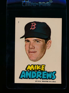 Scan of 1967 Topps Red Sox Stickers 7 Mike Andrews EX-MT