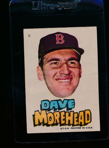 Scan of 1967 Topps Red Sox Stickers 11 Dave Morehead VG