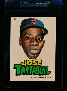Scan of 1967 Topps Red Sox Stickers 16 Jose Tartabull EX-MT