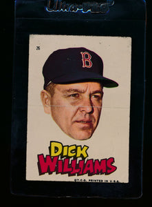 Scan of 1967 Topps Red Sox Stickers 26 Dick Williams Poor