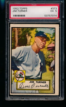 Load image into Gallery viewer, Scan of 1952 Topps 373 Jim Turner PSA 5 EX