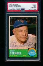 Load image into Gallery viewer, Scan of 1963 Topps 233 Casey Stengel PSA/DNA 3 VG 9 Auto