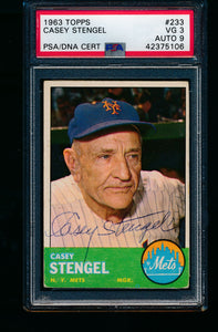 Scan of 1963 Topps 233 Casey Stengel PSA/DNA 3 VG 9 Auto