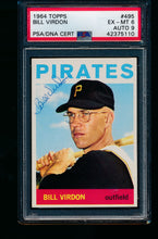 Load image into Gallery viewer, Scan of 1964 Topps 495 Bill Virdon PSA/DNA 6 EX-MT Auto 9