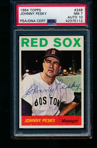 Scan of 1964 Topps 248 Johnny Pesky PSA/DNA 7 NM Auto 10