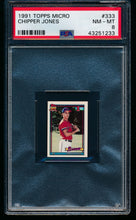 Load image into Gallery viewer, Scan of 1991 Topps Micro 333 Chipper Jones PSA 8 NM-MT