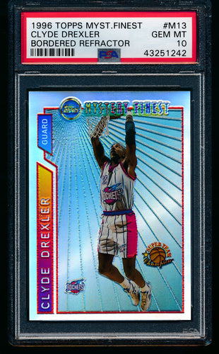 Scan of 1996 Topps Mystery Finest M13 Clyde Drexler PSA 10 GEM MINT