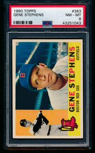 Scan of 1960 Topps 363 Gene Stephens PSA 8 NM-MT