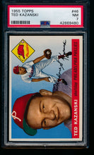 Load image into Gallery viewer, Scan of 1955 Topps 46 Ted Kazanski PSA 7 NM