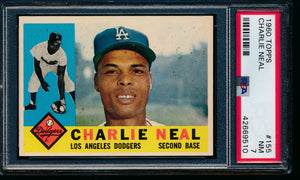 Scan of 1960 Topps 155 Charlie Neal PSA 7 NM