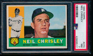 Scan of 1960 Topps 273 Neil Chrisley PSA 7 NM