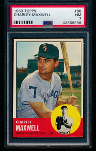 Scan of 1963 Topps 86 Charley Maxwell PSA 7 NM