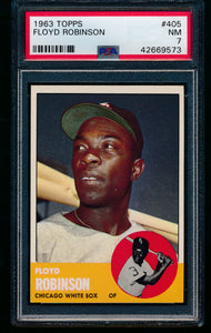 Scan of 1963 Topps 405 Floyd Robinson PSA 7 NM