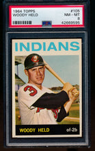 Load image into Gallery viewer, Scan of 1964 Topps 105 Woody Held PSA 8 NM-MT