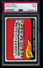 Load image into Gallery viewer, Scan of 1965 Topps 379 Giants Team PSA 7 NM