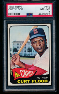 Scan of 1965 Topps 415 Curt Flood PSA 8 NM-MT
