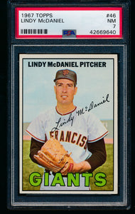 Scan of 1967 Topps 46 Lindy McDaniel PSA 7 NM